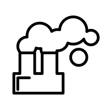 Factory building with chimney and smoke, simple black and white outline icon.