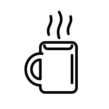 Hot drink in the mug, simple black and white outline icon.