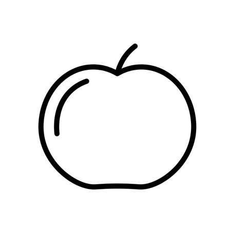 Apple fruit simple black and white outline icon.