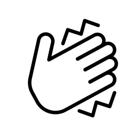Hand clap symbol. Simple black and white outline icon.