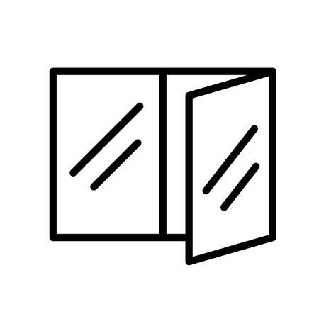 Open window, minimal black and white outline icon.