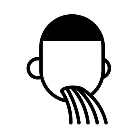 Man feeling sick, minimal black and white outline icon. Nausea, vomiting.
