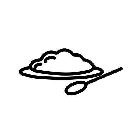Porridge on plate with spoon, simple black and white outline icon. Flat vector illustration. Isolated on white background.