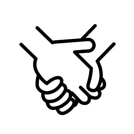 Gesture of two people holding hands, black and white outline icon.