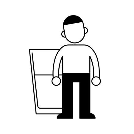 Stay hydrated, Man in front of big glass of water, minimal black and white outline icon.