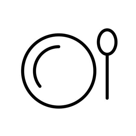 Plate and spoon top view, simple black and white outline icon.