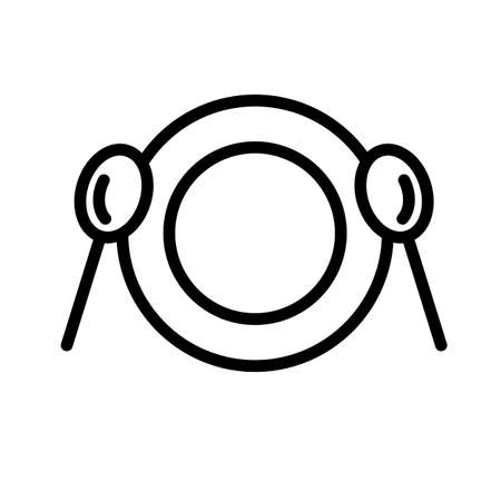 Plate and two spoons top view, simple black and white outline icon. 矢量图像