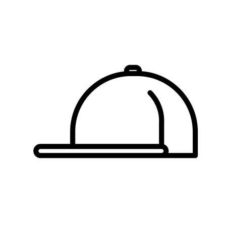 Baseball hat, minimal black and white outline icon. Flat vector illustration. Isolated on white background.