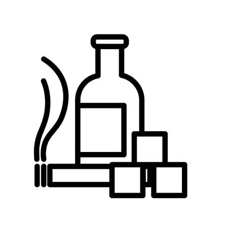 Smoking and drinking simple black and white outline icon. Bottle, cigarette, sugar cubes. Ilustração