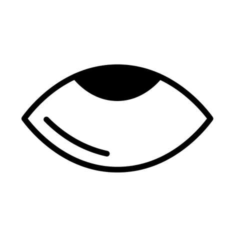 Eye rolling, simple black and white outline icon.
