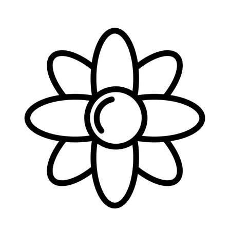 Flower simple black and white outline icon.