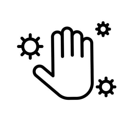 Hand hygiene black and white outline icon. 矢量图像