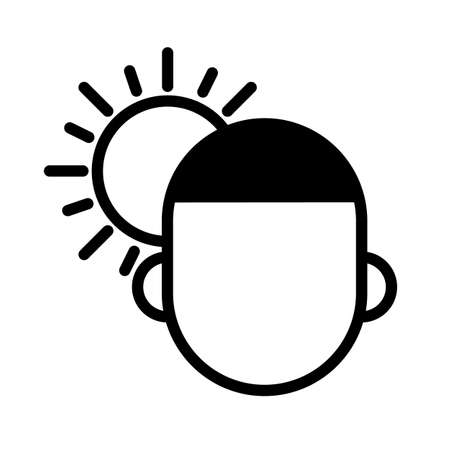 Person under the sun, minimal black and white outline icon. 矢量图像