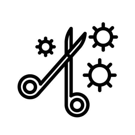 Medical scissors and virus, minimal black and white outline icon. 矢量图像