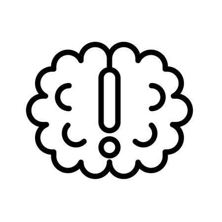Simple brainstorm black and white outline icon. 矢量图像