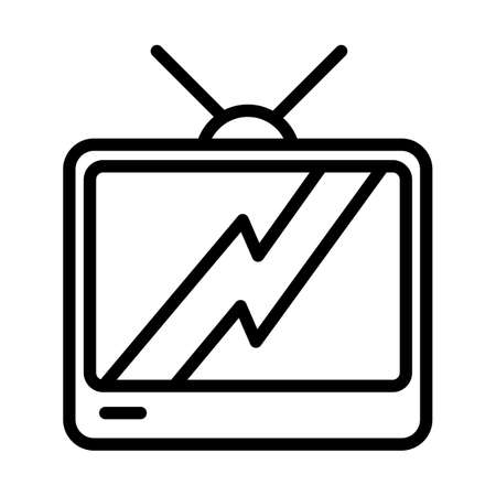 TV set minimal black and white outline icon. Flat vector illustration. Isolated on white background. 向量圖像