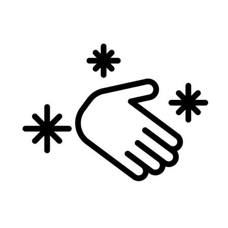 Hand hygiene black and white outline icon. Personal hygiene, disease prevention and healthcare hand washing.