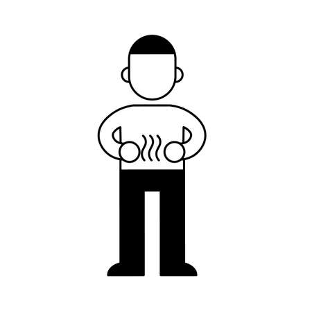 Man with stomach ache, minimal black and white outline icon. 矢量图像