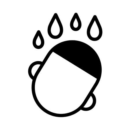 Human head with water drops over it, simple black and white outline icon.