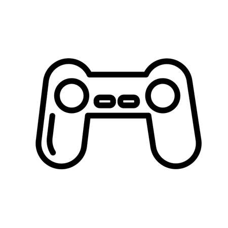 Game pad, joystick controller minimal black and white outline icon.