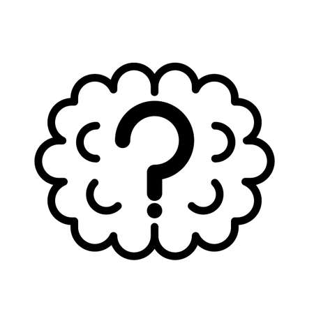 Simple brain fog with question mark black and white outline icon. 矢量图像