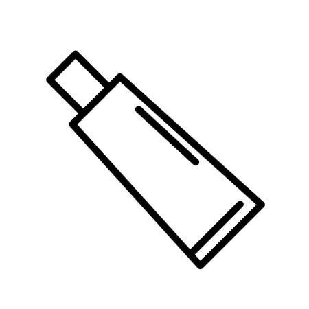 Toothpaste tube, minimal black and white outline icon. 일러스트