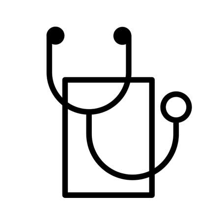 Simple stethoscope, minimal black and white outline icon.