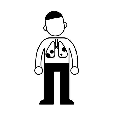 Man with damaged lungs, minimal black and white outline icon.