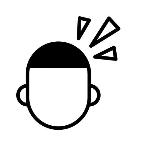 Head ache, minimal black and white outline icon.
