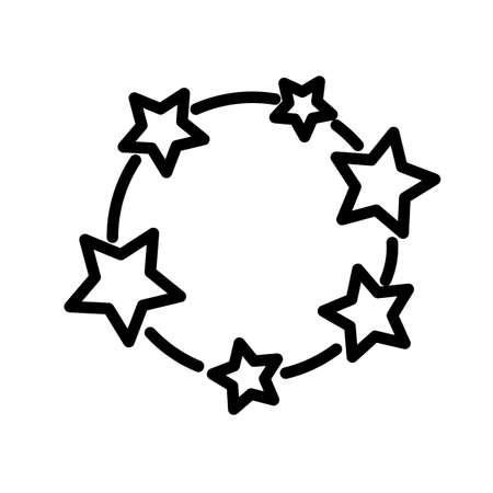 Circle with black-and-white stars, simple black and white outline icon.