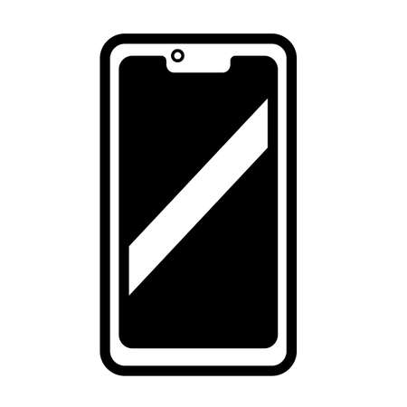 Smartphone minimal black and white outline icon. Flat vector illustration. Isolated on white background.