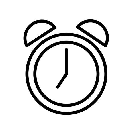 Alarm clock, minimal black and white outline icon. Flat illustration. Isolated on white background.