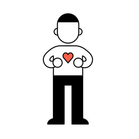 Young man with heart on his chest, minimal black and white outline icon. Flat illustration. Isolated on white background. Ilustração