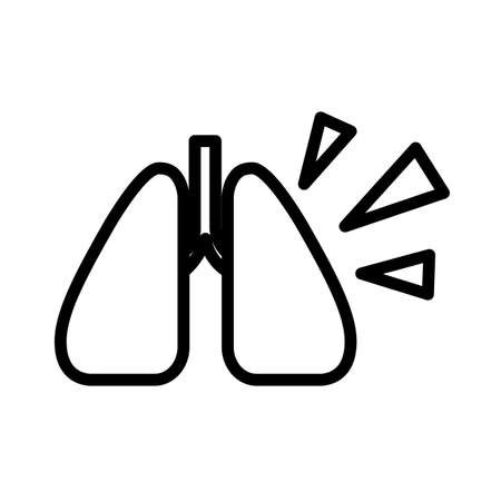 Simple lungs icon. Black and white outline illustration isolated on white background. Flat illustration. Isolated on white background.