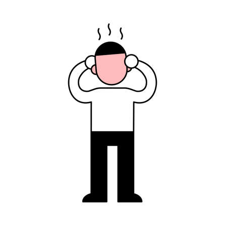 Sick man pressing hands to his red burning head, minimal black and white outline icon. Flat vector illustration. Isolated on white background. Ilustração