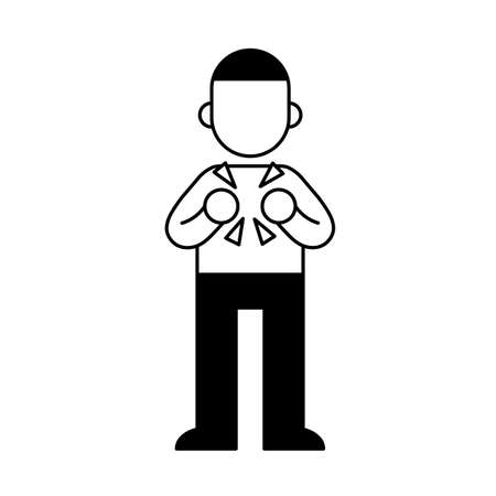 Young man with pain in his chest, minimal black and white outline icon. Flat vector illustration. Isolated on white background.