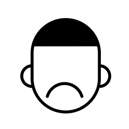 Frustration, depression, anxiety. Unhappy face minimal black and white outline icon. Flat vector illustration. Isolated on white background. Ilustração