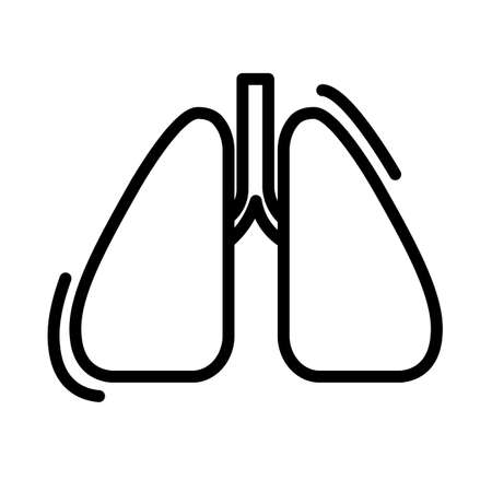 Simple lungs icon. Black and white outline vector illustration isolated on white background. Flat vector illustration. Isolated on white background. Ilustração