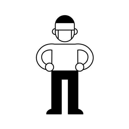 Man wearing a medical mask, minimal black and white outline icon. Flat vector illustration. Isolated on white background. Ilustração