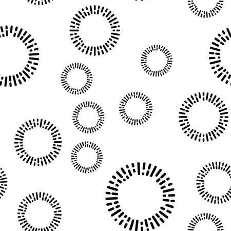 Simple seamless textile pattern with black round elements. Vector background illusrtration.