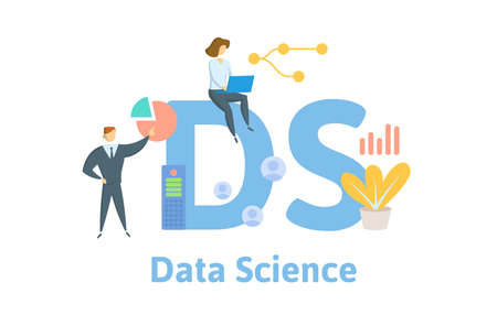 DS, Data Science or Distribution System. Concept with keywords, people and icons. Flat vector illustration. Isolated on white background.