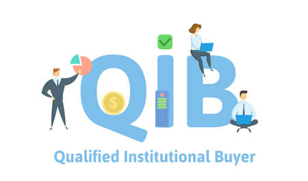 QIB, Qualified Institutional Buyer. Concept with keywords, people and icons. Flat vector illustration. Isolated on white background.