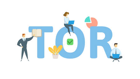 TOR, term of reference. Concept with keyword, people and icons. Flat vector illustration. Isolated on white background.  イラスト・ベクター素材
