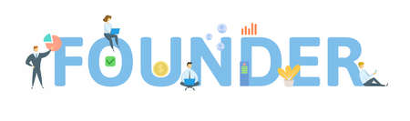 Founder. Concept with keyword, people and icons. Flat vector illustration. Isolated on white background.