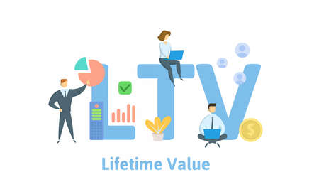 LTV, Lifetime Value or Loan to Value. Concept with keywords, people and icons. Flat vector illustration. Isolated on white background.