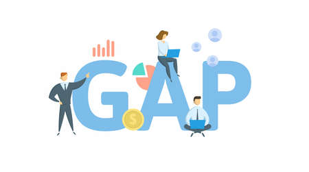 GAP. Concept with keyword, people and icons. Flat vector illustration. Isolated on white background.
