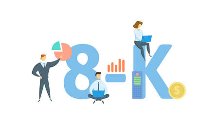 8-K, Form 8K . Concept with keyword, people and icons. Flat vector illustration. Isolated on white background.