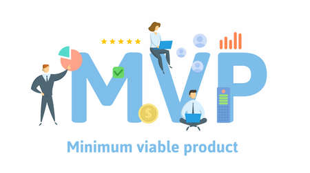 MVP, Minimum Viable Product or Most Valuable Player. Concept with keywords, people and icons. Flat vector illustration. Isolated on white background.