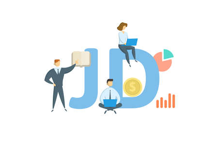 JD, Juris Doctor. Concept with keyword, people and icons. Flat vector illustration. Isolated on white background.  イラスト・ベクター素材