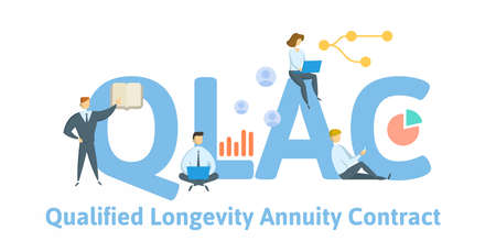 QLAC, Qualified Longevity Annuity Contract. Concept with keyword, people and icons. Flat vector illustration. Isolated on white background.